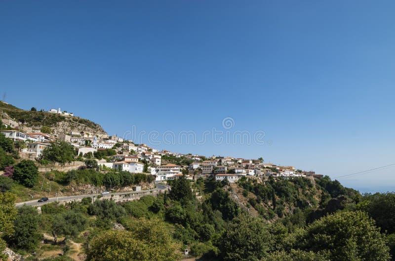 Dhermi旅游村庄看法在阿尔巴尼亚 图库摄影