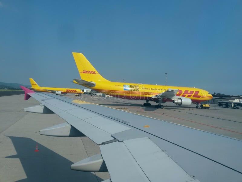 DHL aircrafts stock photos