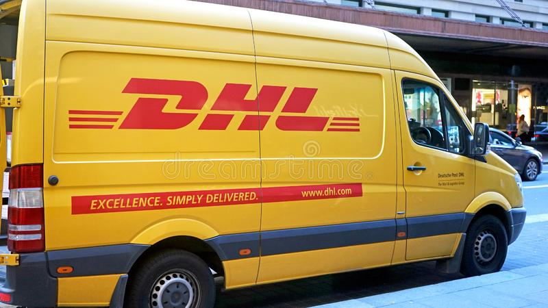 DHL delivery van. Dhl is global market leader in logistics industry. It commits its expertise in express international parcels del royalty free stock photography