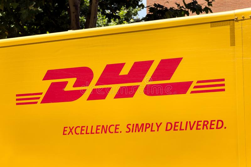 DHL logo on DHL`s van. Madrid, Spain- JUNE 29, 2019: DHL logo on DHL`s van. DHL is a german logistics company royalty free stock photography