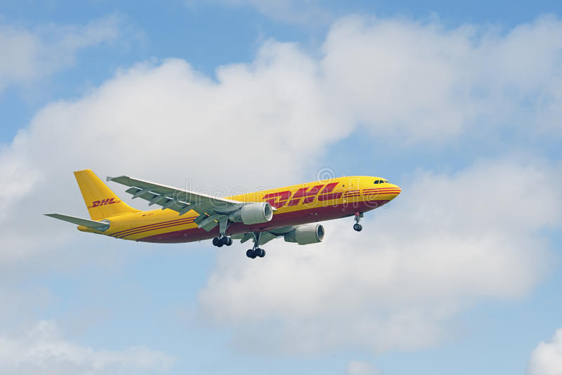 DHL Luchtbus A300 B4 622R royalty-vrije stock afbeelding