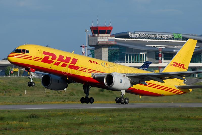 DHL Plane. DHL, a part of Deutsche Post, provides international express mail services. It's air devision operates circa 80 aircraft with the main base in Leipzig stock images