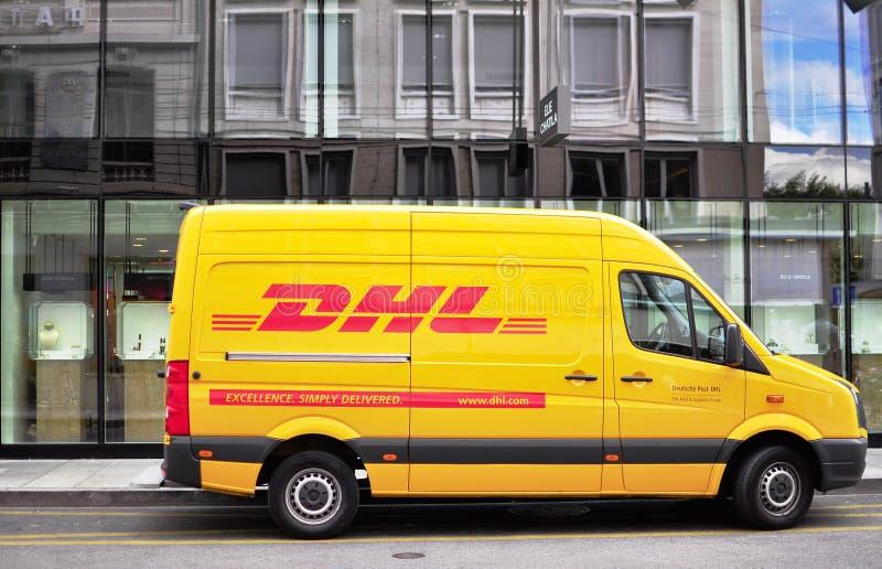 dhl van in the street editorial image image of mail 60582415. Black Bedroom Furniture Sets. Home Design Ideas