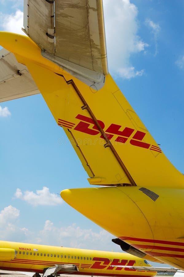DHL Vliegtuigen royalty-vrije stock foto
