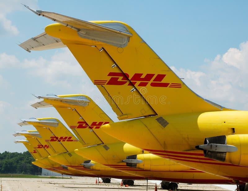 DHL Vliegtuigen stock fotografie