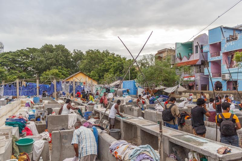 Dhobi加娜是一家知名的露天洗衣店在金奈印度 库存图片