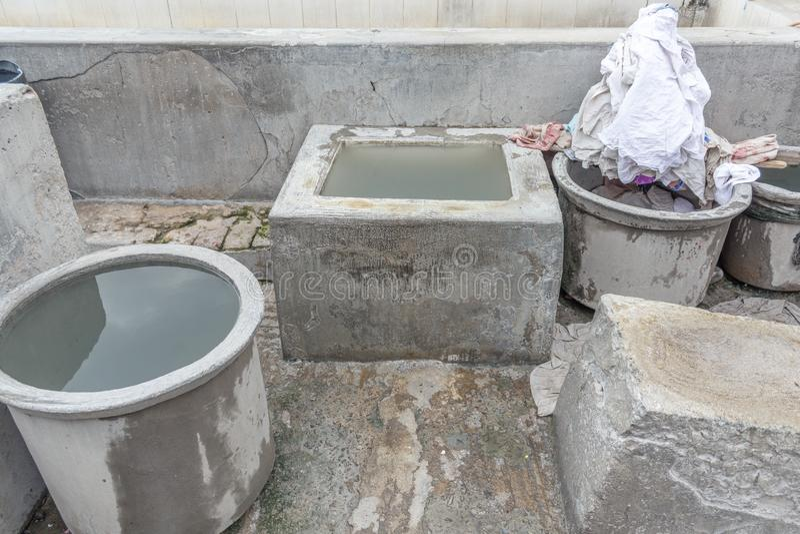 Dhobi加娜是一家知名的露天洗衣店在金奈印度 免版税库存照片
