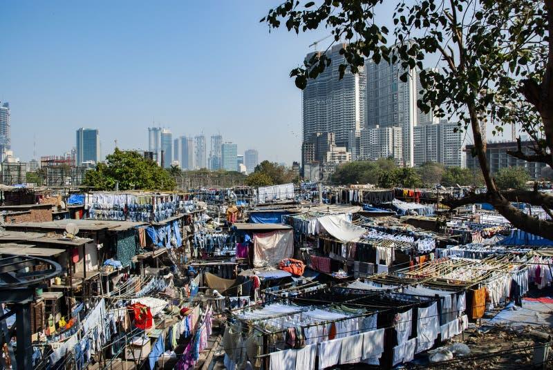 Dhobi ghat, μια θέση για το υπαίθριο πλυντήριο σε Mumbai, Ινδία στοκ φωτογραφία