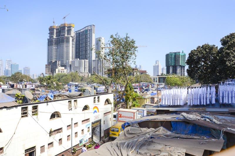 Dhobi Ghat, distrito da lavagem da lavanderia, Mumbai, Índia fotografia de stock royalty free