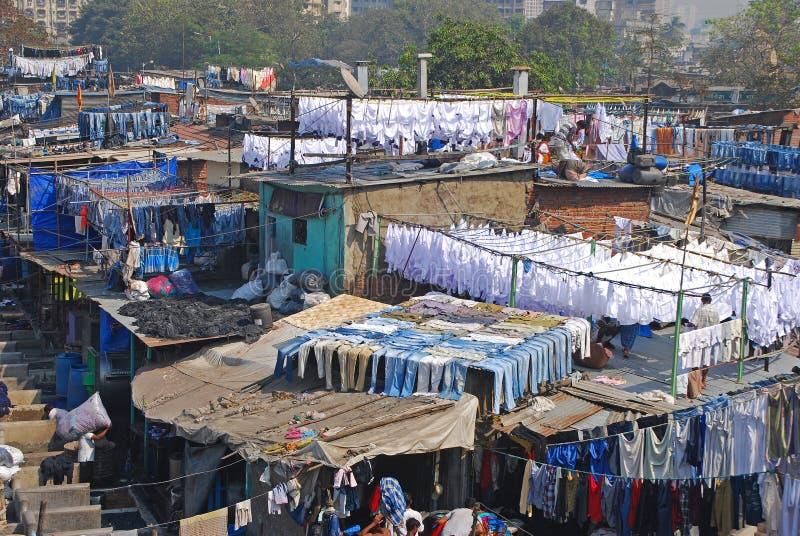 Dhobi Ghat es una lavandería bien conocida del aire abierto en Bombay, la India foto de archivo
