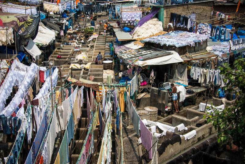 Dhobi ghat laundry Mumbai India. Travel destination in India Dhobi ghat laundry workers washing hundreds of garments and sheets royalty free stock image