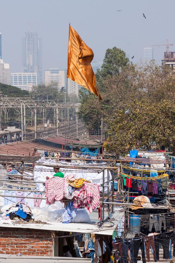 Dhobi Ghat Laundry in Mumbai. The largest laundry in the world is Dhobi Ghat laundry in Mumbai, India on a sunny day stock photo