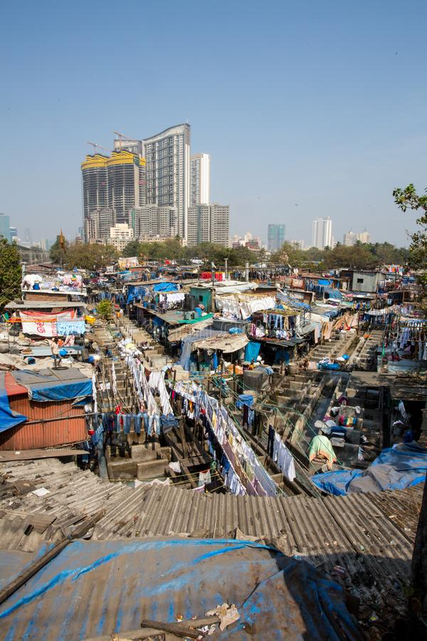 Dhobi Ghat Laundry in Mumbai. The largest laundry in the world is Dhobi Ghat laundry in Mumbai, India on a sunny day royalty free stock photography