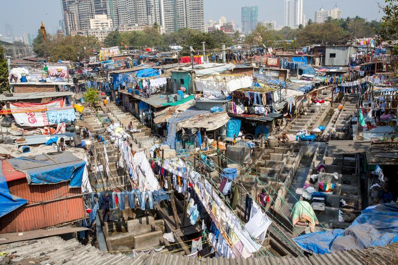 Dhobi Ghat Laundry in Mumbai. The largest laundry in the world is Dhobi Ghat laundry in Mumbai, India on a sunny day royalty free stock image
