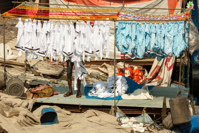 Dhobi Ghat Laundry in Mumbai. The largest laundry in the world is Dhobi Ghat laundry in Mumbai, India on a sunny day stock images