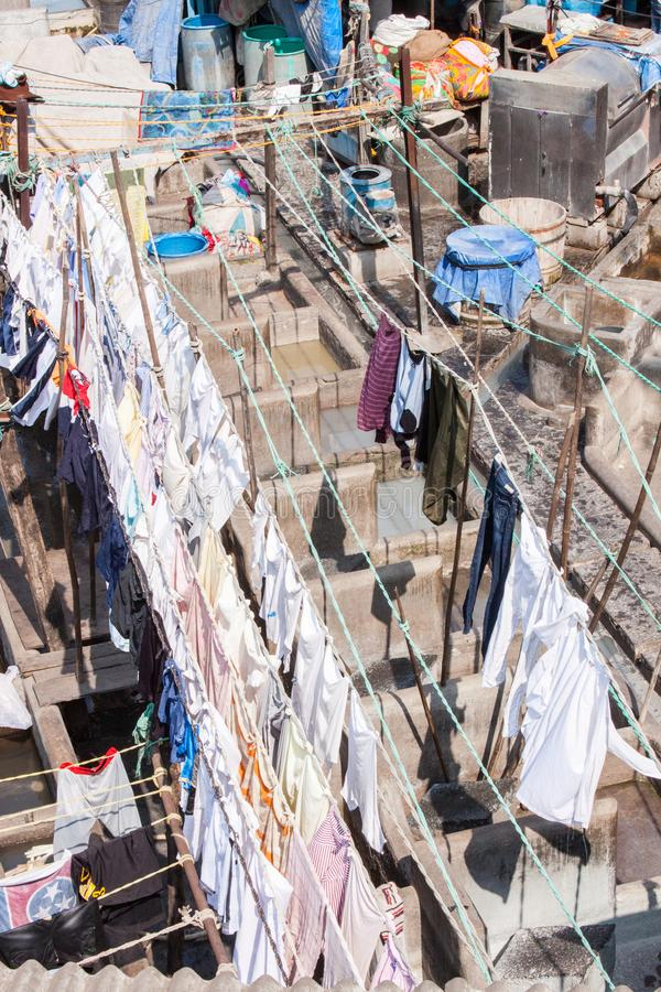 Dhobi Ghat Laundry in Mumbai. The largest laundry in the world is Dhobi Ghat laundry in Mumbai, India on a sunny day stock image
