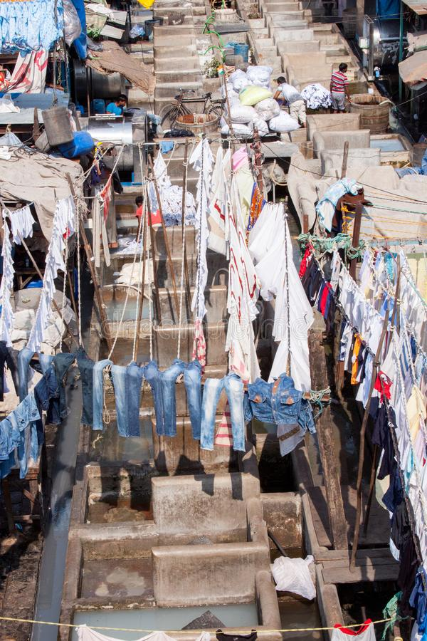 Dhobi Ghat Laundry in Mumbai. The largest laundry in the world is Dhobi Ghat laundry in Mumbai, India on a sunny day royalty free stock photo