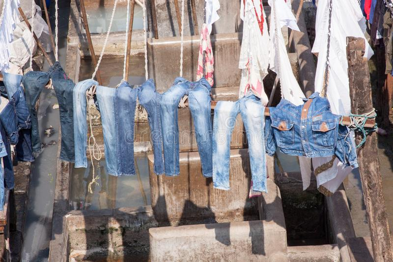 Dhobi Ghat Laundry in Mumbai. The largest laundry in the world is Dhobi Ghat laundry in Mumbai, India on a sunny day royalty free stock images