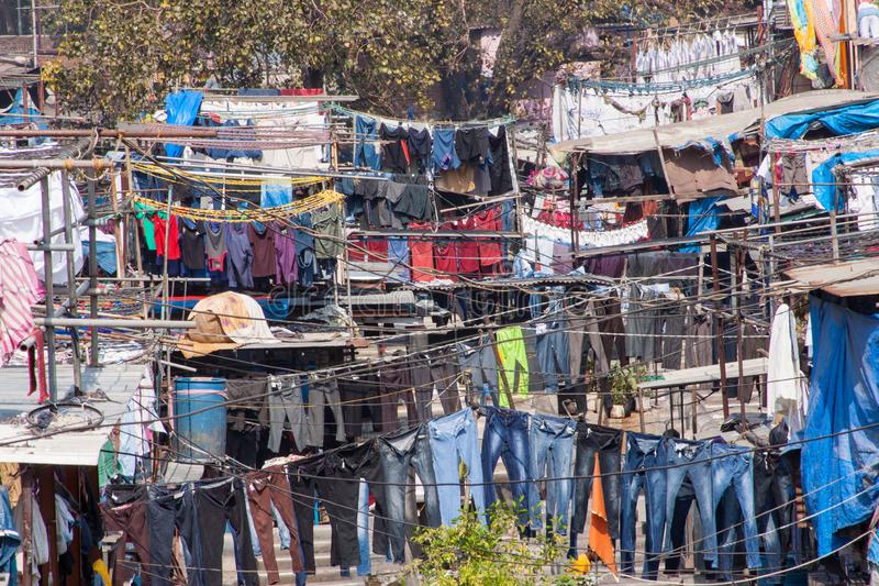 Dhobi Ghat Laundry in Mumbai. The largest laundry in the world is Dhobi Ghat laundry in Mumbai, India on a sunny day stock photography