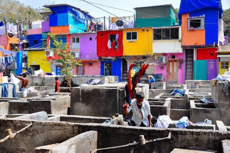 Dhobi-ghat Waschautomat in Mumbai, Indien stockbild