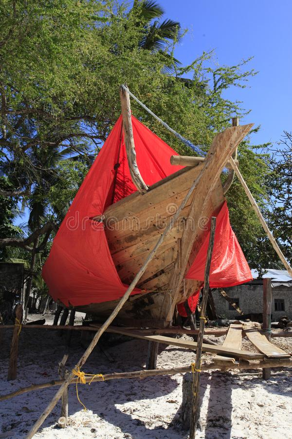 Dhow-χτίζοντας ναυπηγείο, Nungwi, Zanzibar, Τανζανία στοκ εικόνες