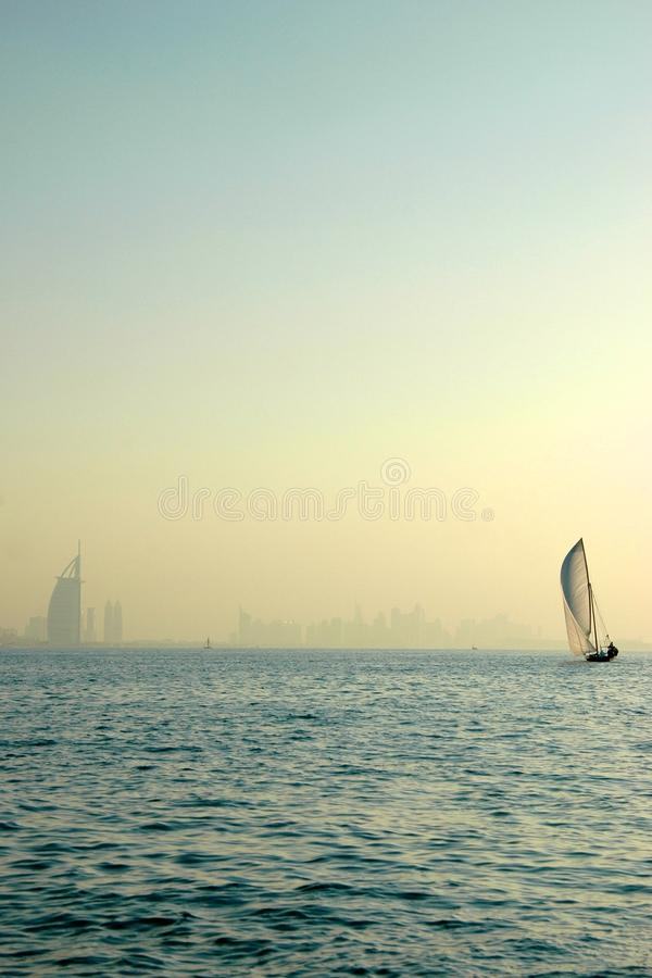 Free Dhow And Burj Al Arab In The Gulf Royalty Free Stock Image - 13829386