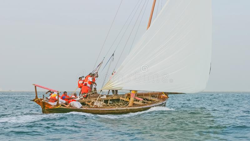 Dhow Crew at Work stock photo
