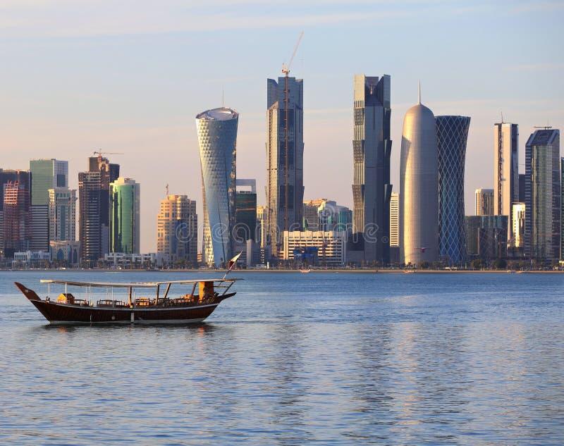 Dhow and Doha skyline stock photography