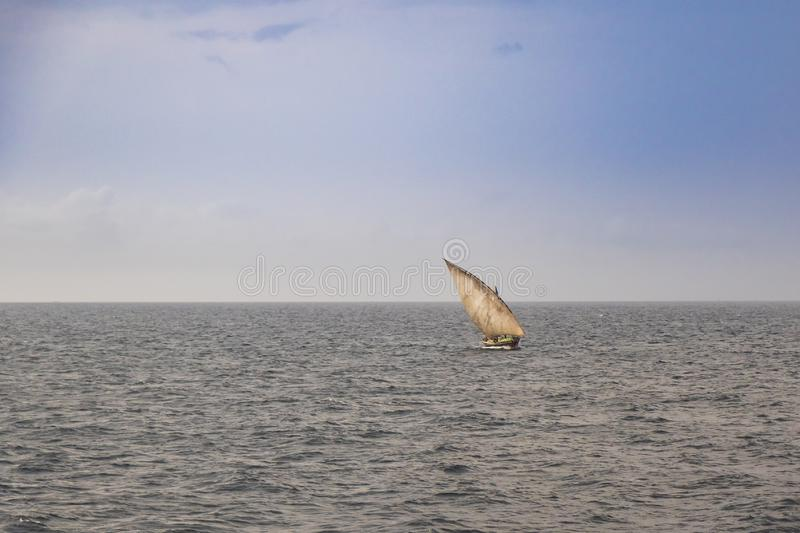 Dhow wooden fishing boat sailing stock photo