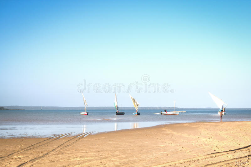 Dhows at the coast of Barra near Tofo. Typical boats called dhows near the coast of Barra and Praia do Tofo in Inhambane, Mozambique stock images