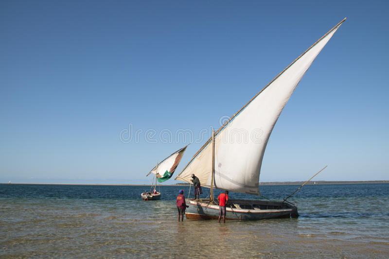 Dhows at the coast of Barra near Tofo. Typical boats called dhows near the coast of Barra and Praia do Tofo in Inhambane, Mozambique stock photo