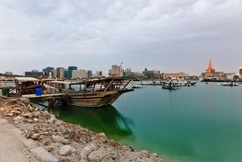 Dhows in Doha Bay. In Qatar stock photography
