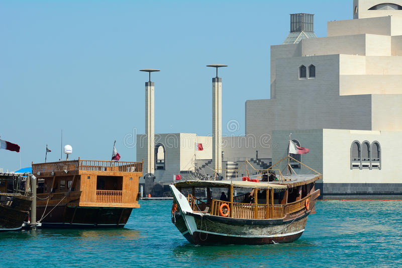Dhows, Doha, Katar stockfotografie
