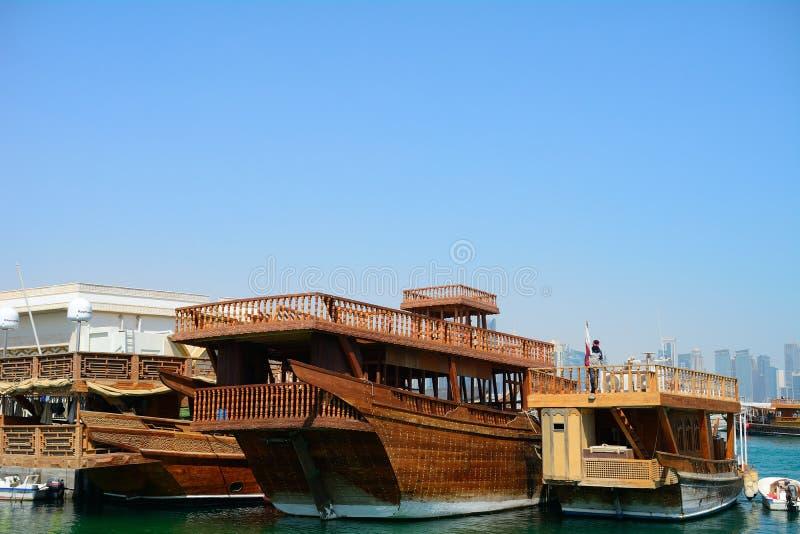 Dhows Doha, Qatar arkivfoton