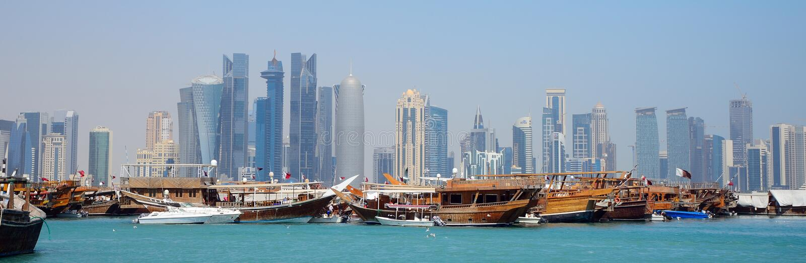 Dhows, Doha, Qatar. Dhows in the bay of Doha, Qatar royalty free stock images