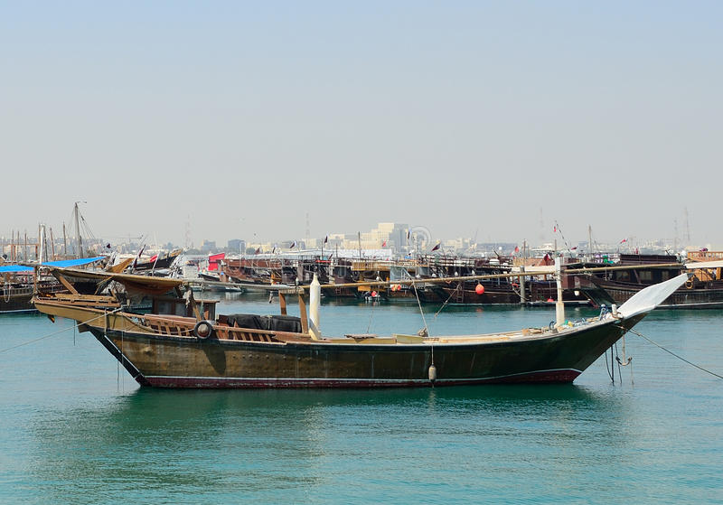 Dhows, Doha, Qatar. Dhows in the bay of Doha, Qatar royalty free stock image