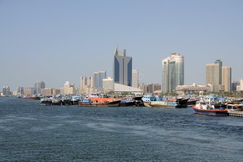 Dhows at Dubai Creek. United Arab Emirates royalty free stock photo