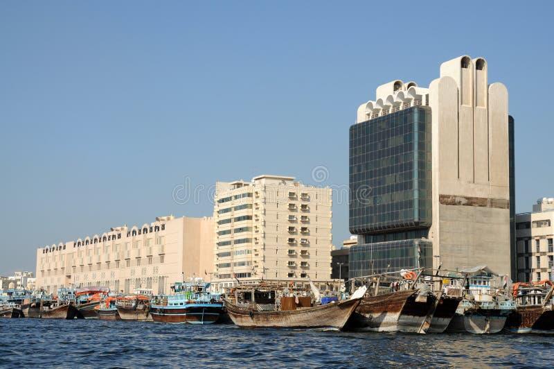 Dhows at Dubai Creek. United Arab Emirates stock photo
