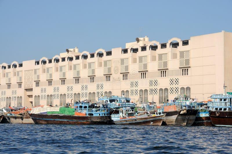 Dhows en Dubai Creek imágenes de archivo libres de regalías