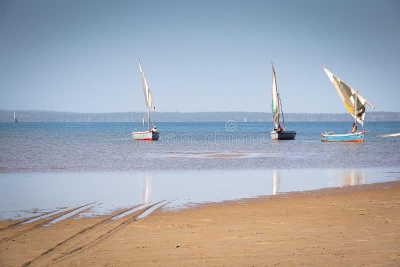 Dhows en la costa de Barra cerca de Tofo imágenes de archivo libres de regalías