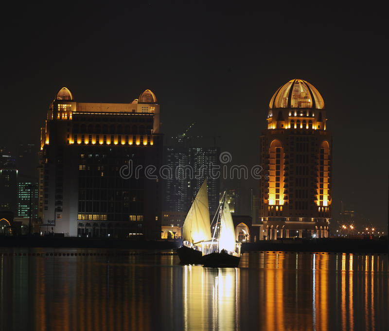 Dhows in Qatar at night royalty free stock photo