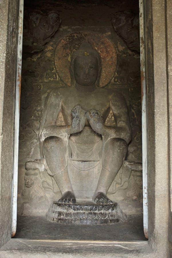 Dhyan姿势的菩萨,洞9,北群,奥郎加巴德洞,奥郎加巴德,马哈拉施特拉 图库摄影
