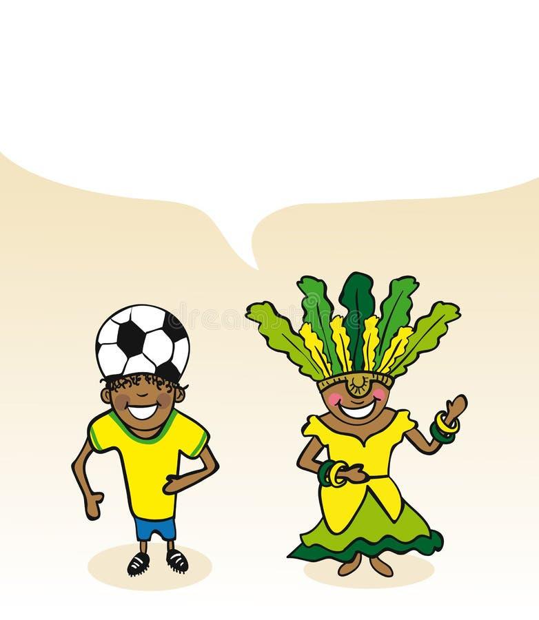 Diálogo brasileiro da bolha dos pares dos desenhos animados ilustração royalty free