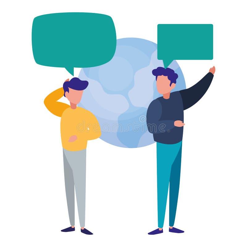Diálogo da bolha do discurso do mundo dos homens de negócios ilustração stock