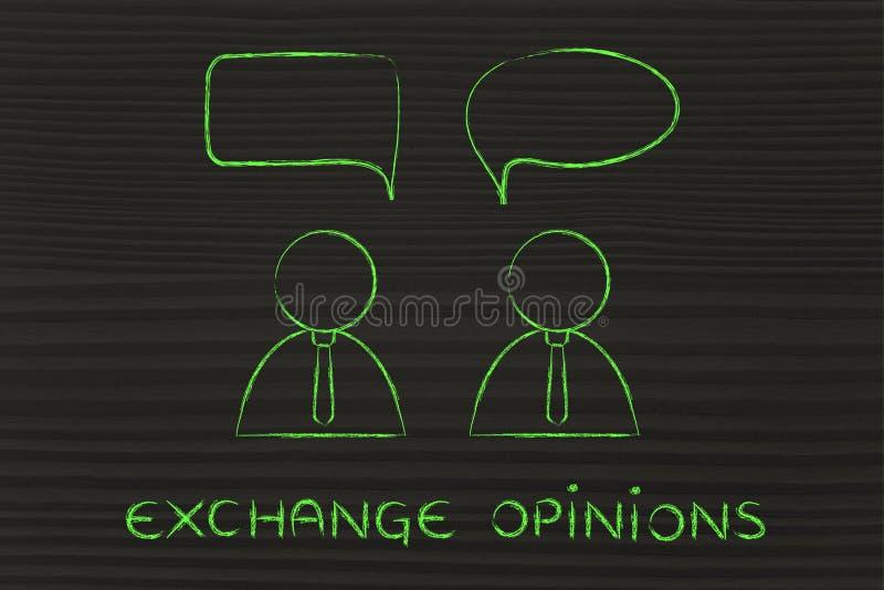 Diálogo da conversação dos homens de negócios, opiniões da troca ilustração stock