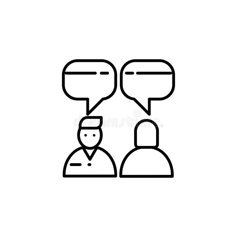 Diálogo de la gente Elemento del icono de la entrevista de trabajo para los apps móviles del concepto y del web La línea fina diá stock de ilustración
