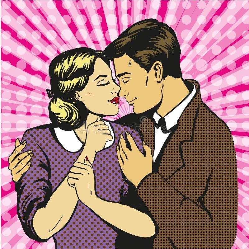Diálogo do amor dos pares Homem e mulher no amor ilustração royalty free