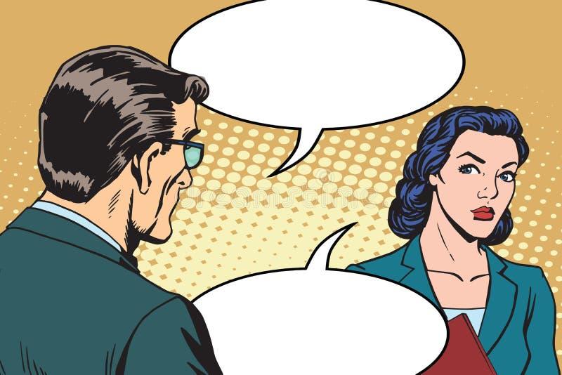 Diálogo do homem de negócios e da mulher de negócios ilustração stock