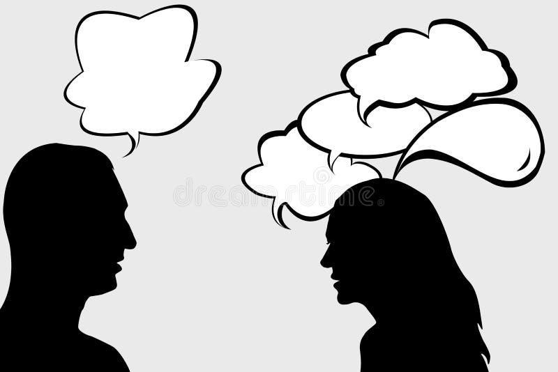Diálogo entre a mulher e o homem ilustração royalty free