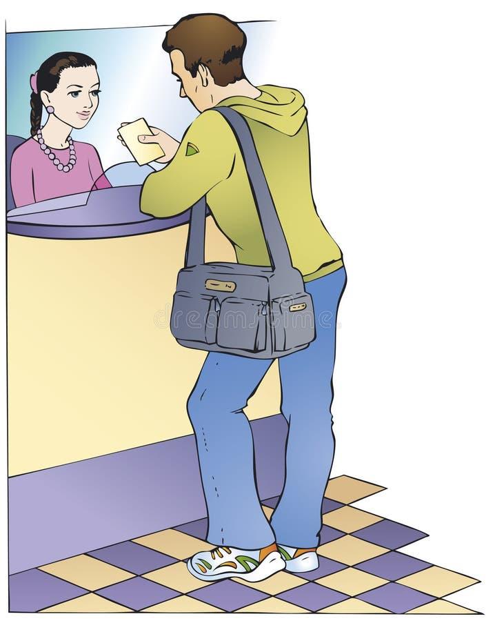 Diálogo entre o cliente e o caixa ilustração royalty free